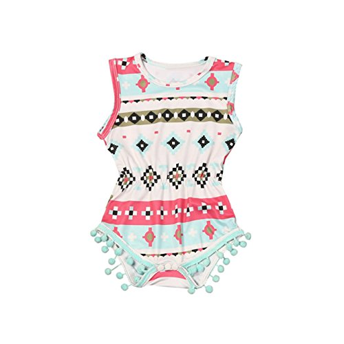SHOBDW Girls Clothing Sets, 2PCS Set Infant Kids Baby Girls Sleeveless Print Romper Jumpsuit + Headband (6-12 Months, D-Geometric)