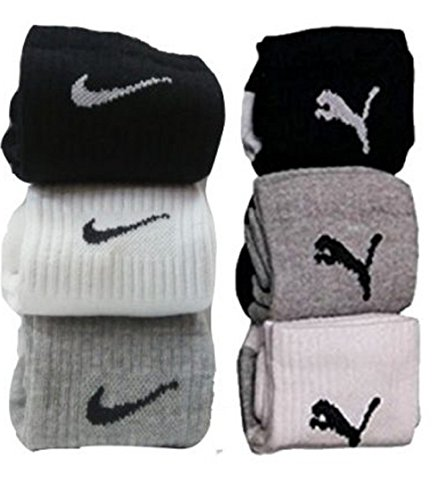 Combo-Offer-Of-6-Pairs-Nike-and-Puma-Logo-Sports-Ankle-Length-Socks
