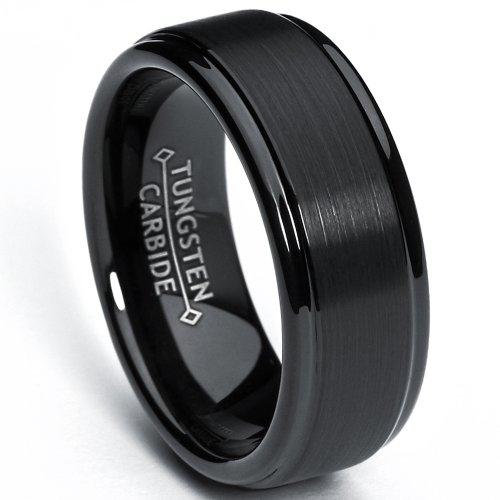 8mm-black-high-polish-matte-finish-mens-tungsten-ring-wedding-band-size-m