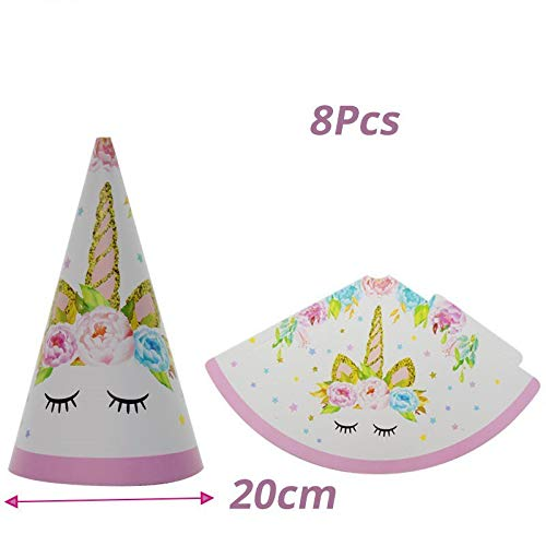 Einhorn Geburtstagsfeier Einweggeschirr Set Pappbecher Platte Tischdecke Kinder Party Dekoration Baby Shower 1St Party Supplies, 8 Stücke Papier Hut