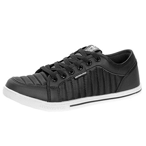 Baskets pour homme avec Velcro Neuf Valmar Fashion dentelle Motif décontracté Low Baskets Noir - noir