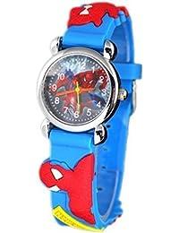 Nuevo reloj de los niños de Spider-Man en la Web de la caja de acero inoxidable de color azul cielo de regalo de las muchachas de los muchachos de la banda de goma