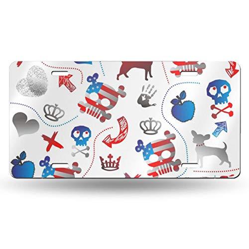 Doinh Nummernschild, Motiv Flagge, Totenkopf, Hund, Schmetterling, Apfel und Fingerabdruck, personalisierbar, einseitiger Druck, Aluminium, 30,5 x 15,2 cm