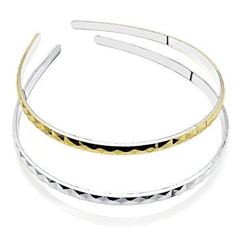 2 Gold & Silver Diamond Cut Plastic Alice Bands AJ28597 by I Heart Fashion Accessories - Cut Gold Diamond