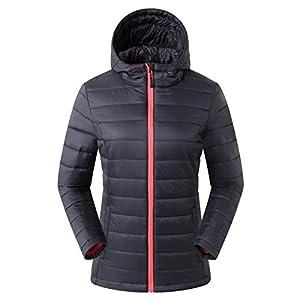 ropa de abrigo: Eono Essentials - Chaqueta térmica guateada para mujer (negro, XS)