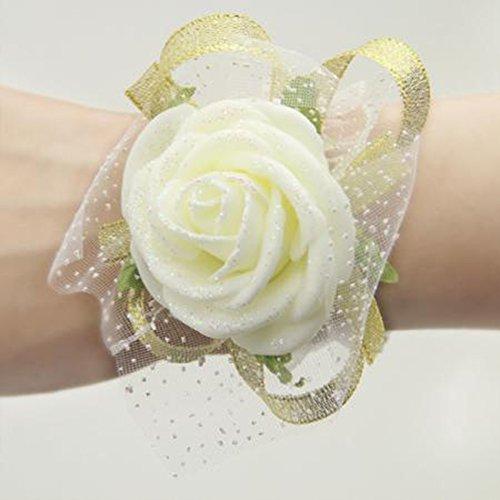 Interesting® Sposa damigelle matrimonio schiuma Sands mano polso fiore Bianco