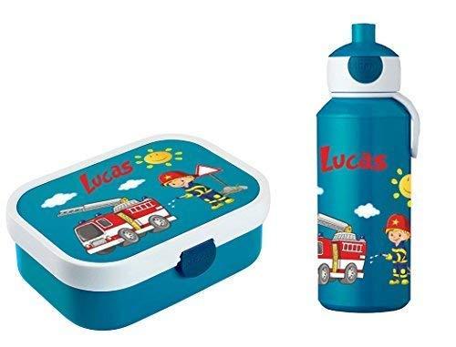 Mein Zwergenland Brotdose Mepal Campus mit Bento Box und Gabel und Trinkflasche Campus Pop-Up mit eigenem Namen Feuerwehr (blau)