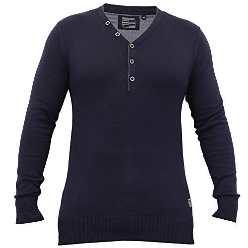 Hommes Pull Tricot Pulls By Brave Soul Col Y Marine - 230ANGELOB