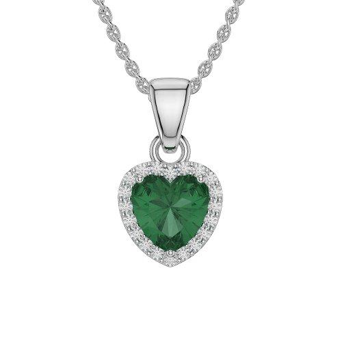 Or blanc/or/Rose/Jaune/Or/Platine en forme de cœur émeraude et diamant collier agdnc-1064-vsgh