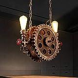 Lampadario retro ingranaggio, legno industriale vento due lampadari, ristorante bar nordico creativo American Corridoio corridoio scale portico lampade d'arte