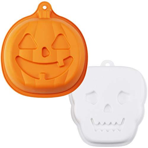 HULISEN 2 moldes de silicona para hornear Halloween, calabaza con forma de fantasma, moldes de postre de chocolate