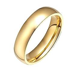 Idea Regalo - HIJONES Gioielleria Donne Acciaio Inossidabile 18K Oro Placcato Anello di Nozze Taglia 17