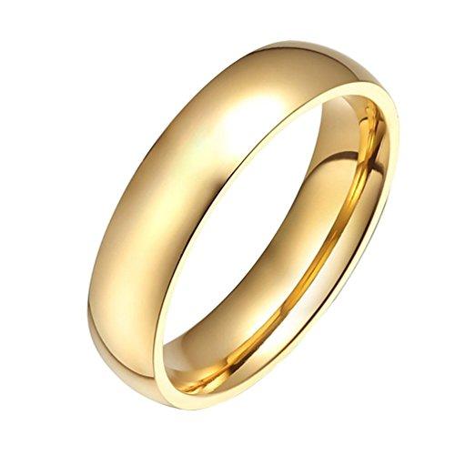 HIJONES Schmuck Damen Edelstahl 18k Gold Überzogene Hochzeit Ring Größe 54 (17.2)