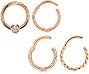 QWALIT Hinged Cartilage Earring Hoop 16G Segment Nose Rings Hoop Clicker CZ Helix Daith Tragus Sleeper Earring