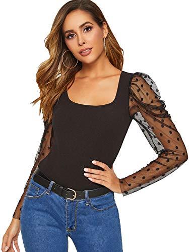 DIDK Damen Langarmshirt U-Ausschunitt Netz-Puffärmel Oberteile Shirts Langarm T-Shirt Einfarbig Blusen Elegant Tops Basic Top Schwarz M