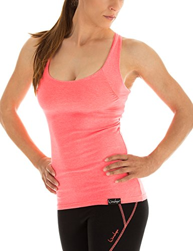 Winshape, Damen Cross Back Top Fitness Freizeit Sport Essential, Slim Fit, WVR25, Neon Coral, Gr. S (Coral Neon)