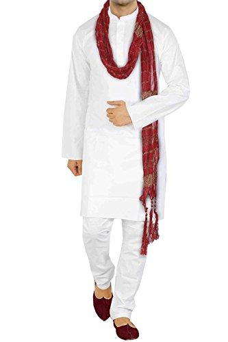 Vastramay Men's White Pure Cotton Kurta,Pyjama & Dupatta (Size: 44)