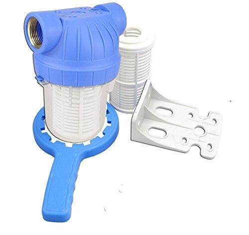 """GPV5M1"""". Vorfilter für Garten Pumpen und Hauswasserwerke 1L, Schmutzfilter Sandfilter. Pumpenvorfilter mit Filtereinsatz 5Zoll, Messing-Innengewinde 1 Zoll. NEUHEIT: Doppel O-Ring Dichtung."""