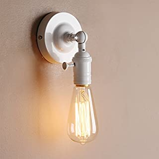 Pathson Industrial Vintage Metal Wall Light Fittings Loft Coffee Bar Kitchen Wall Sconce Light Edison Lamp Fixture Corridor Wall Lamp (White)