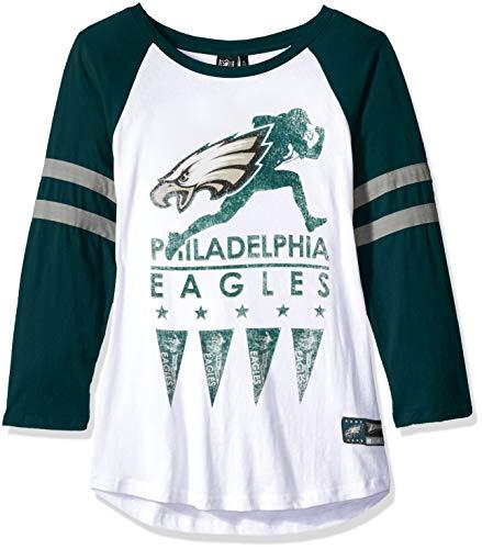 Icer Brands NFL Philadelphia Eagles Damen T-Shirt Running Game 3/4 Long Sleeve Tee Shirt, Größe M, Weiß