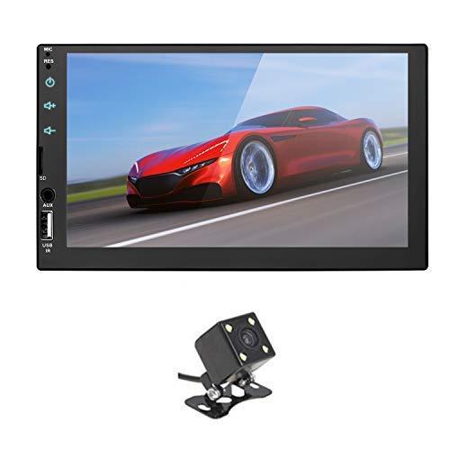 Summdey Espejo Link 2 DIN 7 Pulgadas Universal HD BT FM Radio MP5 Reproductor USB/TF Aux Entrada Full capacitancia Pantalla táctil Reproductor con cámara de visión Trasera