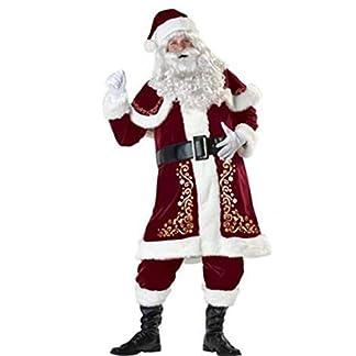 Gusspower Disfraces de Papá Noel para Navidad Traje de Cosplay para Hombre(T-Shirt+Pantalones+Chal+Cinturón+Cubierta del Zapato+Guante+Barba+Sombrero)