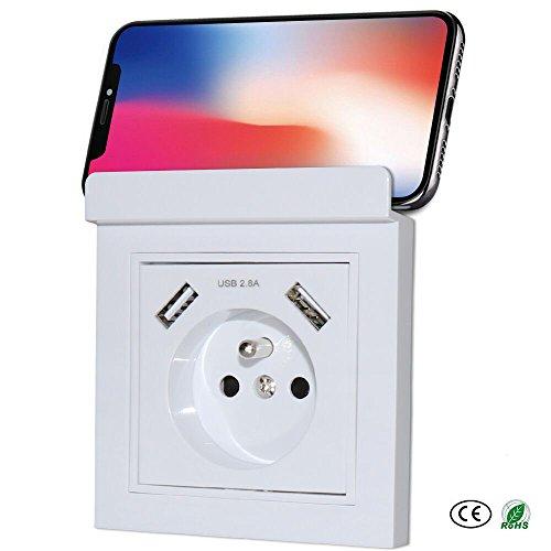 Prise avec USB Double Ports 2.8A | Prise Murale Encastrée avec Support de Téléphone Portable | Chargeur pour iPhone, iPad, Smartphone, MP3, etc.