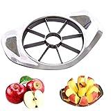 Jalunth Cortador de manzanas de acero inoxidable con 8 cuchillas, cortador de frutas, herramienta de cocina con mango de metal, color plateado