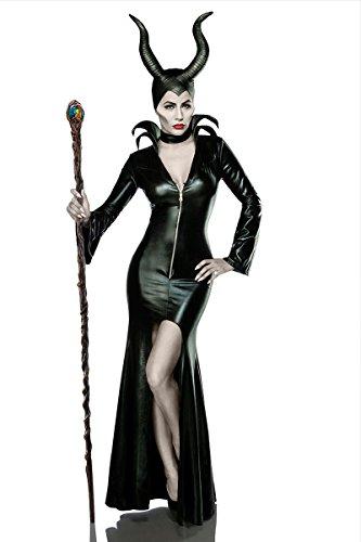 Verkleidung aus Kleid, Halsband, Hörnermaske Teufelin in schwarz M (Schwarzer Teufel Kostüm Damen)