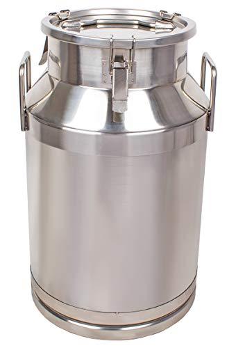 Beeketal 'BMK-40' Milchkanne Transportkanne 40 Liter aus Edelstahl, auslaufsicherer Deckel mit Spannverschluss und Gummidichtung, Molkerei Milch Kanne zum Transportieren oder zur Aufbewahrung