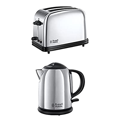 Russell Hobbs Toaster Chester Classic 23311-56 acier brillant, 1670 + Russell Hobbs Bouilloire Compacte Chester - 1 L 20190-70""