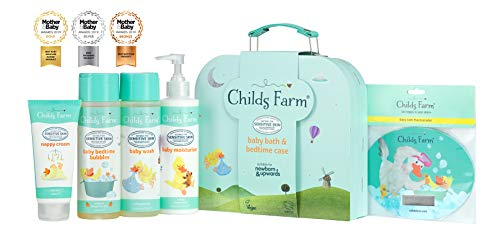Childs Farm Baby Gifting Suitcase Containing Baby Wash, Bubble Bath, Moisturiser, Nappy Cream and Bath Thermometer CF179