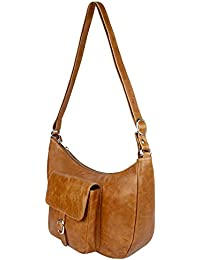PRERNA Women's Genuine Leather Handbag, Sling Bag, Cross Body, Vintage Finish Leather, Tan Color