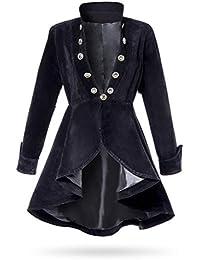 Unbekannt Schwarze Kurze Damen Gehrock Jacke mit Langen Ärmeln und  Stehkragen Metallknöpfen Vorn Samt-Stoff 24d42e74c0