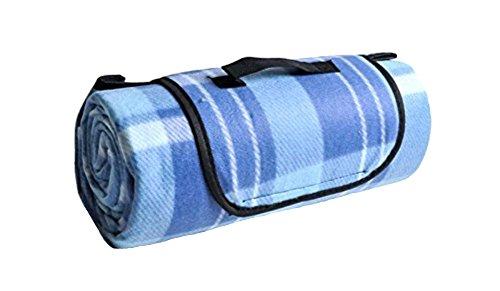 Honeystore 200*150 Fleece Besonders Groß Picknickdecke mit wasserabweisender Unterseite Blau Karo