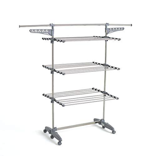 Kitchen Move BAT-TR-22 Séchoir à linge, Acier Inoxydable, Gris, L168xl68xH150 cm , Argent