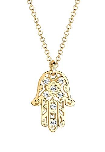 Elli Damen Schmuck Halskette Kette mit Anhänger Hamsa Hand Fatima Talisman Orientalisch Silber 925 Vergoldet Swarovski® Kristalle Gold Länge 45 cm