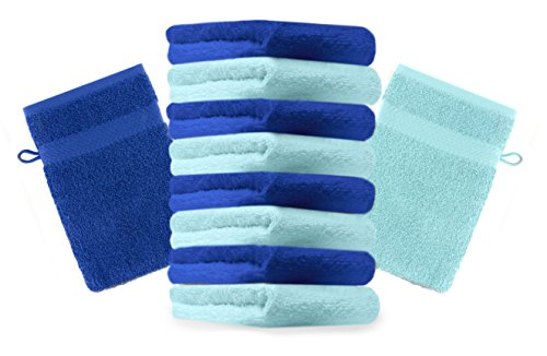 Betz Lot de 10 gants de toilette Premium bleu royal et turquoise, taille: 16x21 cm