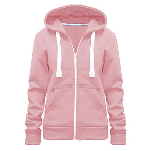 Ladies Womens Plain Colour Hoodie zip sweater hood plus size (UK 8-28) (UK SIZE 4XL=20, baby pink)