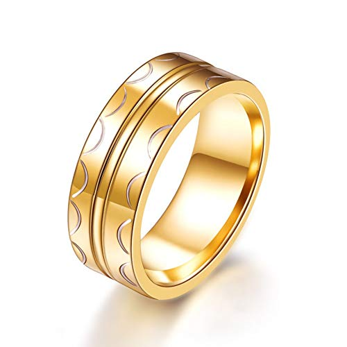 SSLL Ringe für Herren Halbkreis Bedruckt Goldringe Fashion Party Hochzeit Engagement Zubehör, 7