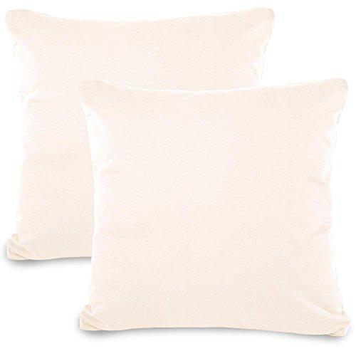 2er-Set Kissenbezug 80x80 Jersey Qualitäts Kissenhülle mit Reißverschluss 100% Mako Baumwolle, Classic Line aqua-textil 0011478 schnee weiß