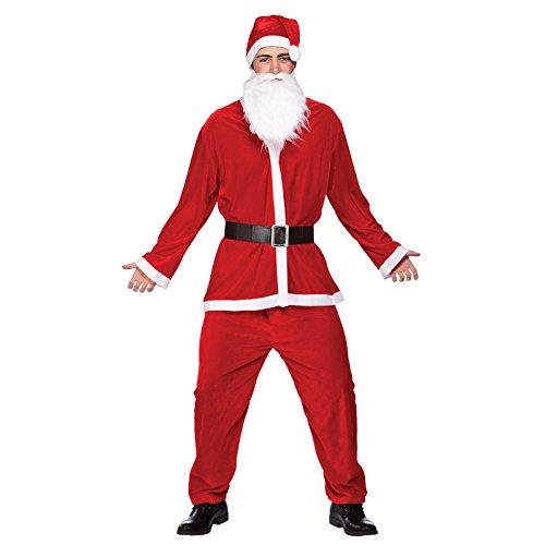 MENS DELUXE VELOUR 5PC SANTA SUIT CHRISTMAS FANCY -
