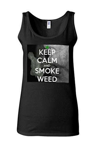 Kep Calm And Smoke Weed High Novelty White Femme Women Tricot de Corps Tank Top Vest *Noir