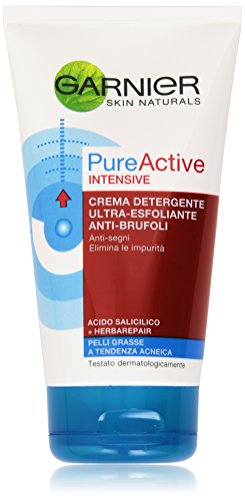 Garnier Pureactive Intensive Crema Detergente Ultra-Esfoliante Anti-Brufoli, 150 ml