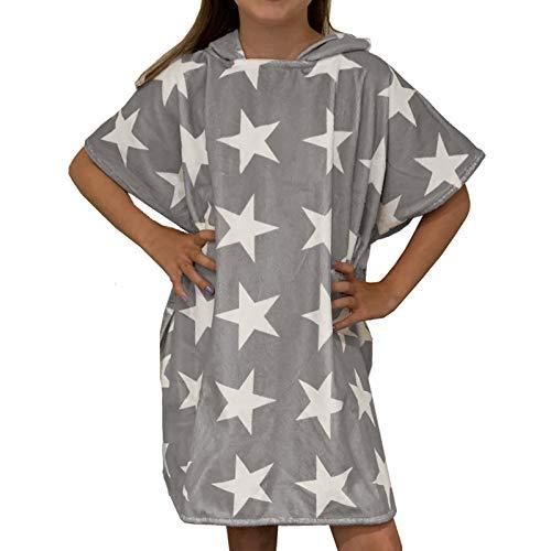 HOMELEVEL Kinder Poncho Badeponcho Handtuch Kapuzenhandtuch Baumwollmischung Velours Frottee Badetuch mit Kapuze 8-11 Jahre Grau Sterne