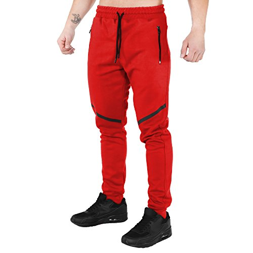 SMILODOX Slim Fit Herren Jogginghose 'Tech Pro' | Trainingshose für Sport Fitness Gym & Freizeit | Sporthose - Jogger Pants - Sweatpants Hosen - Freizeithose Lang, Farbe:Rot, Größe:L (Für Sport-slim-fit-hose Männer)