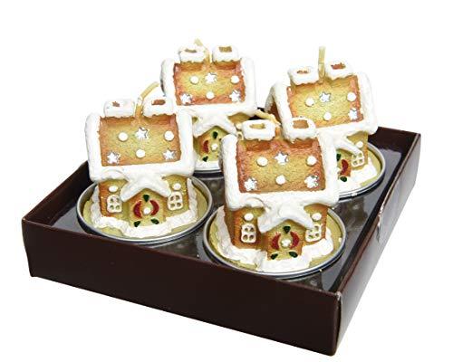 Kaemingk natale decorativo a forma di casa di marzapane tealight candele in cera con dettaglio bianco neve–set di 4–5cm