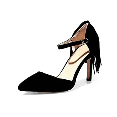 AgooLar Women's Pointed Closed Toe Spikes Stilettos Frosted Solid Buckle Pumps Shoes, Black, 33