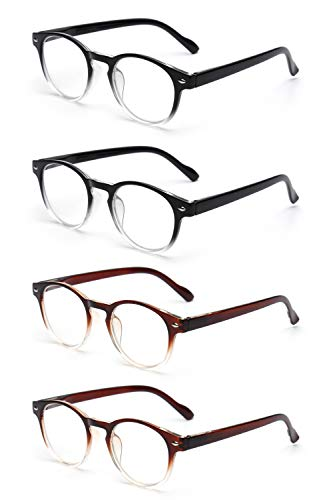 JM 4 Pack Federscharnier Lesebrille Vintage Runden Brillen für Leser Damen Herren +1.25 Schwarz & Braun