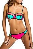 CASPAR BIK005 Damen Bandage Bikini Set, Farbe:Mint-aprikot/neon pink WP;Größe:38 M UK10 US8